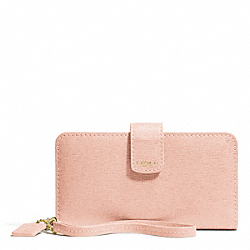 COACH SAFFIANO LEATHER PHONE WALLET - LIGHT GOLD/PEACH ROSE - F66265