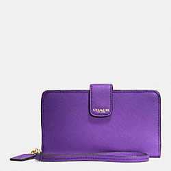 COACH PHONE WALLET IN SAFFIANO LEATHER - LIGHT GOLD/PURPLE IRIS - F66265