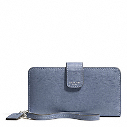 COACH SAFFIANO LEATHER PHONE WALLET - SILVER/CORNFLOWER - F66265