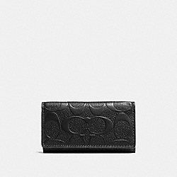 COACH 4 RING KEY CASE IN SIGNATURE CROSSGRAIN LEATHER - BLACK - F66293