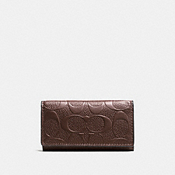 COACH 4 RING KEY CASE IN SIGNATURE CROSSGRAIN LEATHER - MAHOGANY - F66293