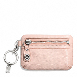 TEXTURED PATENT POUCH KEY RING COACH F66328