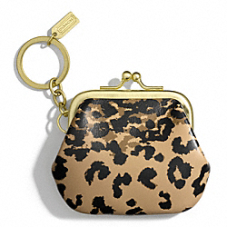 COACH MADISON OCELOT FRAME POUCH KEY RING - ONE COLOR - F66333