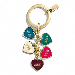 COACH MULTI HEART MULTI MIX KEY RING - ONE COLOR - F66398
