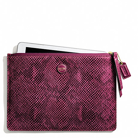 COACH f66413 SIGNATURE STRIPE EMBOSSED SNAKE MEDIUM TECH POUCH BRASS/RASPBERRY