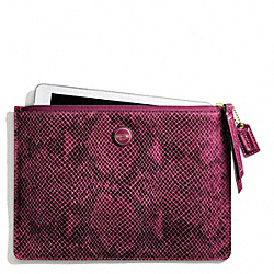 COACH SIGNATURE STRIPE EMBOSSED SNAKE MEDIUM TECH POUCH - BRASS/RASPBERRY - F66413