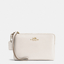 CORNER ZIP WRISTLET IN ARMOR LEATHER - f66449 - IMITATION GOLD/CHALK