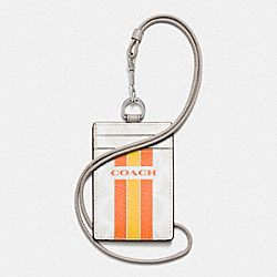 COACH COACH VARSITY STRIPE LANYARD ID CASE IN SIGNATURE - SILVER/CHALK ORANGE - F66462