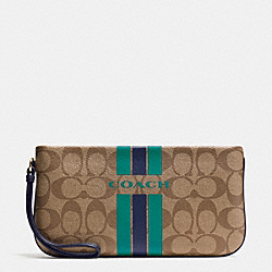 COACH VARSITY STRIPE LARGE WRISTLET IN SIGNATURE - IMITATION GOLD/KHAKI/MIDNIGHT - COACH F66463