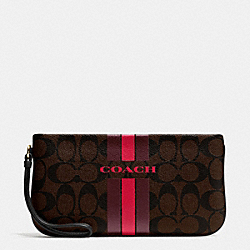 COACH COACH VARSITY STRIPE LARGE WRISTLET IN SIGNATURE - IMITATION GOLD/BROW TRUE RED - F66463