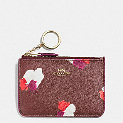 COACH KEY POUCH WITH GUSSET IN FIELD FLORA PRINT COATED CANVAS - IMITATION GOLD/BURGUNDY MULTI - F66491
