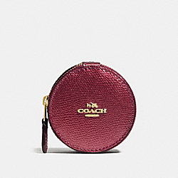 COACH ROUND TRINKET BOX IN CROSSGRAIN LEATHER - IMITATION GOLD/METALLIC CHERRY - F66501