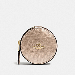 COACH ROUND TRINKET BOX IN CROSSGRAIN LEATHER - IMITATION GOLD/PLATINUM - F66501