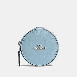 COACH ROUND TRINKET BOX IN CROSSGRAIN LEATHER - SILVER/CORNFLOWER - F66501