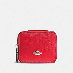 COACH JEWELRY BOX IN CROSSGRAIN LEATHER - SILVER/BRIGHT RED - F66502