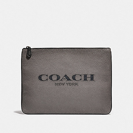 COACH LARGE POUCH WITH COACH CUT OUT - HEATHER GREY MULTI/BLACK ANTIQUE NICKEL - F66547