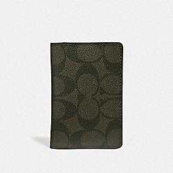 CARD WALLET IN SIGNATURE CANVAS - SURPLUS/BLACK ANTIQUE NICKEL - COACH F66549
