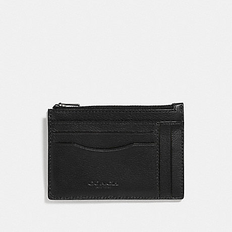 COACH MULTIWAY ZIP CARD CASE - BLACK/BLACK ANTIQUE NICKEL - F66550