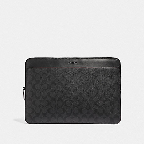 COACH LAPTOP CASE IN SIGNATURE CANVAS - BLACK/BLACK/OXBLOOD - F66552