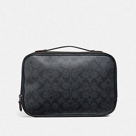 COACH MULTIFUNCTION POUCH IN SIGNATURE CANVAS - BLACK/BLACK/OXBLOOD - F66554