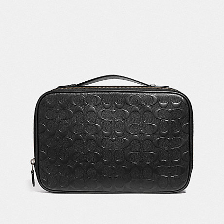 COACH MULTIFUNCTION POUCH IN SIGNATURE LEATHER - BLACK/BLACK ANTIQUE NICKEL - F66555