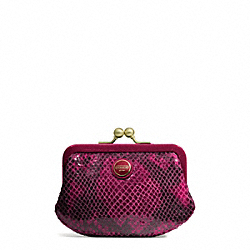 COACH SIGNATURE STRIPE EMBOSSED SNAKE FRAMED COIN PURSE - ONE COLOR - F66557