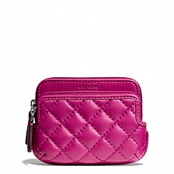 COACH PARK QUILTED LEATHER DOUBLE ZIP COIN WALLET - SILVER/BRIGHT MAGENTA - F66559
