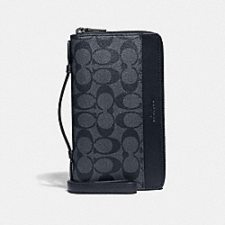 DOUBLE ZIP TRAVEL ORGANIZER IN SIGNATURE CANVAS - DENIM/BLACK ANTIQUE NICKEL - COACH F66562