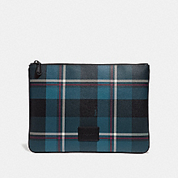 LARGE POUCH WITH PLAID PRINT - BLUE MULTI/BLACK ANTIQUE NICKEL - COACH F66566
