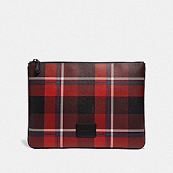 LARGE POUCH WITH PLAID PRINT - RED MULTI/BLACK ANTIQUE NICKEL - COACH F66566
