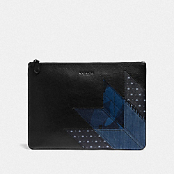 LARGE POUCH WITH PATCHWORK - DENIM/BLACK ANTIQUE NICKEL - COACH F66567