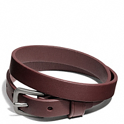 COACH CAMDEN LEATHER BRACELET - SILVER/DARK RED - F66578