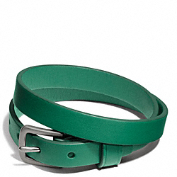 COACH CAMDEN LEATHER BRACELET - SILVER/EMERALD - F66578