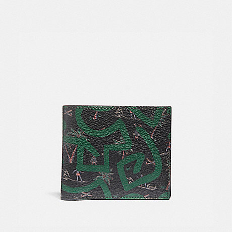 COACH KEITH HARING ID BILLFOLD WITH HULA DANCE PRINT - BLACK MULTI/BLACK ANTIQUE NICKEL - F66581