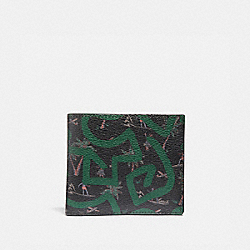 KEITH HARING ID BILLFOLD WITH HULA DANCE PRINT - BLACK MULTI/BLACK ANTIQUE NICKEL - COACH F66581