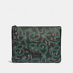 KEITH HARING LARGE POUCH WITH HULA DANCE PRINT - BLACK MULTI/BLACK ANTIQUE NICKEL - COACH F66583
