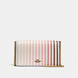 CALLIE FOLDOVER CHAIN CLUTCH WITH OMBRE QUILTING - B4/CHALK - COACH F66603