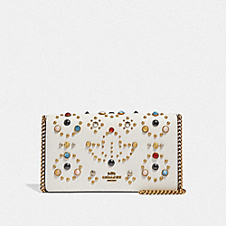 CALLIE FOLDOVER CHAIN CLUTCH WITH RIVETS - B4/CHALK - COACH F66624