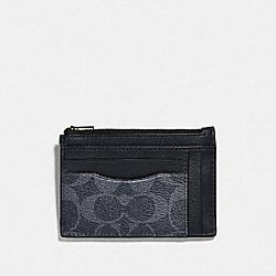 MULTIWAY ZIP CARD CASE IN SIGNATURE CANVAS - DENIM/BLACK ANTIQUE NICKEL - COACH F66649