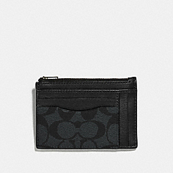 MULTIWAY ZIP CARD CASE IN SIGNATURE CANVAS - CHARCOAL/BLACK/BLACK ANTIQUE NICKEL - COACH F66649