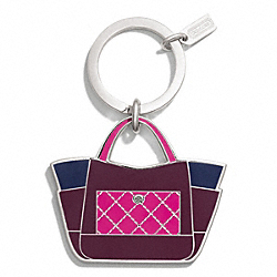 PARK COLOR BLOCK TOTE KEY RING COACH F66661