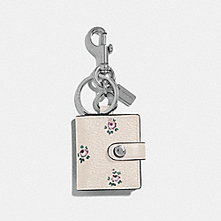 PICTURE FRAME BAG CHARM WITH DITSY FLORAL PRINT - CHALK/SILVER - COACH F66665