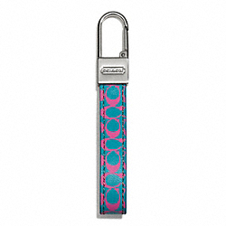 PRINTED SIGNATURE LEATHER LOOP KEY RING COACH F66703