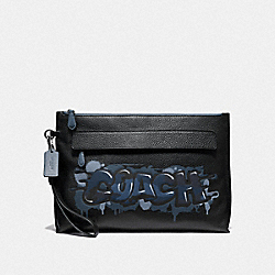 CARRYALL POUCH WITH COACH GRAFFITI - BLACK MULTI/BLACK ANTIQUE NICKEL - COACH F66714