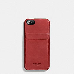 COACH BLEECKER LEATHER IPHONE 5 MOLDED CASE WALLET - RED CURRANT - F66720