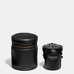 BLEECKER LEATHER TRAVEL ADAPTER - f66727 -  BLACK