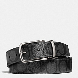 COACH DRESS WESTON SIGNATURE C BELT - BLACK/CHARCOAL - F66733