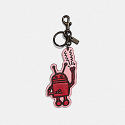 KEITH HARING ROBOT BAG CHARM - BRIGHT PINK/BLACK - COACH F66744