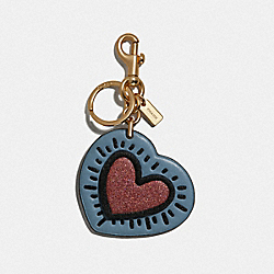 KEITH HARING HEART BAG CHARM - CORNFLOWER/GOLD - COACH F66745