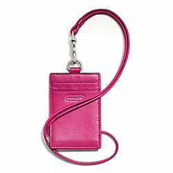 COACH CAMPBELL LEATHER LANYARD ID - SILVER/FUCHSIA - F66780